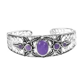 Signature Collection- Burmese Purple Jade (Ovl and Rnd) Cuff Bangle (Size 7.5) in Sterling Silver 11