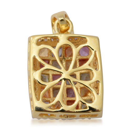 Rainbow Sapphire (Sqr), Natural Cambodian Zircon Pendant in Yellow Gold Overlay Sterling Silver 2.92 Ct.