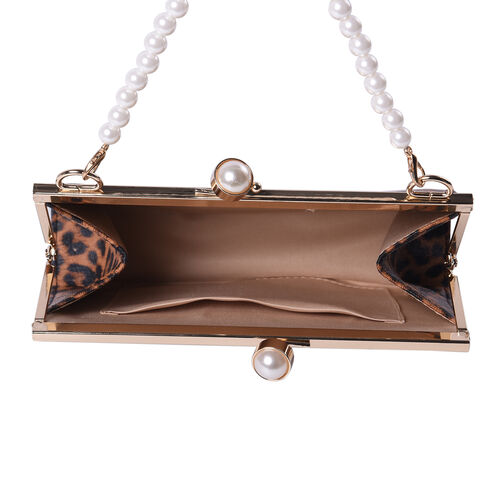 Brown Leopard Clutch Closure Crossbody Bag with Dangling Pearl Chain and Metallic Shoulder Strap in Gold Tone