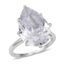 ELANZA Simulated Diamond Pear Cut Solitaire Ring in Sterling Silver 4.61 Grams