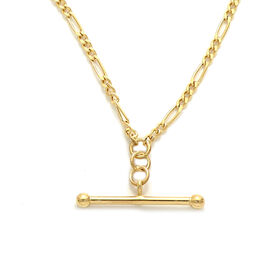 Italian Made 9k Yellow Gold Figaro Toggle Necklace (Size 18), Gold wt. 3.00 Gms