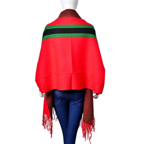 Designer Inspired - Red, Green and Black Colour Stripe Pattern Kimono with Tassels (Free Size)