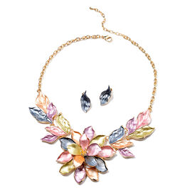 2 Piece Set Floral Enamelled Necklace and Stud Earrings in Gold Tone 20 with 2 inch Extender