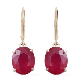 Limited Edition - 9K Yellow Gold AAA African Ruby (Ovl 11x9mm) Lever Back Earring 11.200 Ct.