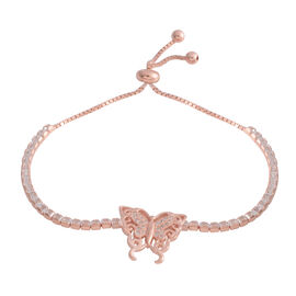 ELANZA Simulated Diamond (Emerald Cut) Adjustable Butterfly  Bracelet (Size 6.5 - 8.5) in Rose Gold Overlay Sterling Silver, Silver wt 7.00 Gms.