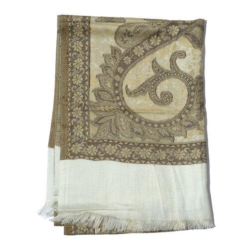 Grey Colour Jacquard Print White Shawl (Size 175x65 Cm)