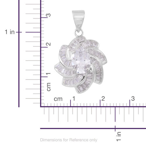 ELANZA AAA Simulated Diamond (Ovl) Pendant in Rhodium Plated Sterling Silver