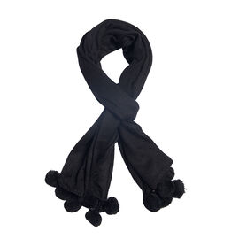 Solid Knit Scarf with Pom Poms (Size 178x80 Cm) - Colour Black