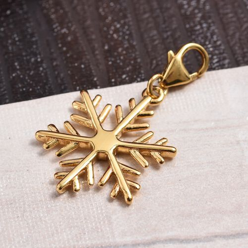 14K Gold Overlay Sterling Silver Snowflake Charm