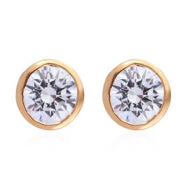 Made with Swarovski Zirconia Solitaire Stud Earrings in Gold Plated Sterling Silver
