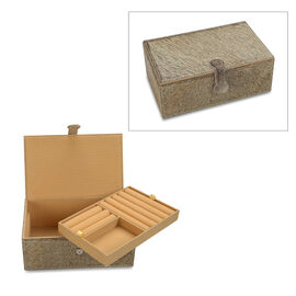 2-Tier Light Grey Hair-on Natural Leather Jewellery Box with Magnetic Flap Closure and Velvet Lining