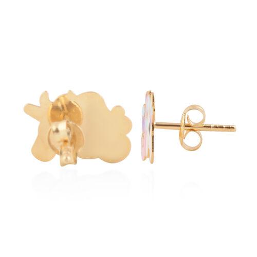 9K Yellow Gold Enamelled Unicorn Stud Earrings (with Push Back)