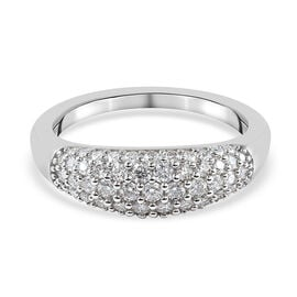 Moissanite Ring in Rhodium Overlay Sterling Silver 1.010 Ct.