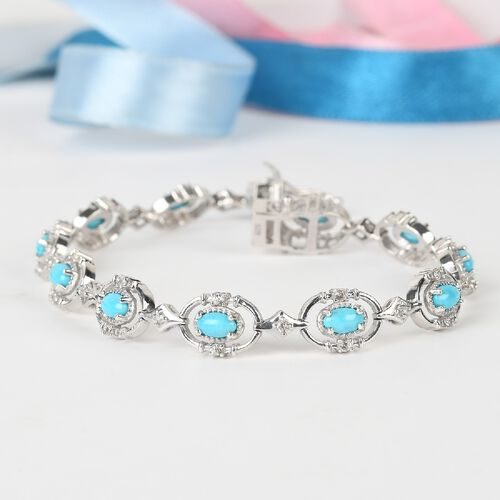 Arizona Sleeping Beauty Turquoise and Natural Cambodian Zircon Bracelet (Size 8) in Platinum Overlay Sterling Silver 3.97 Ct, Silver wt.12.07 Gms