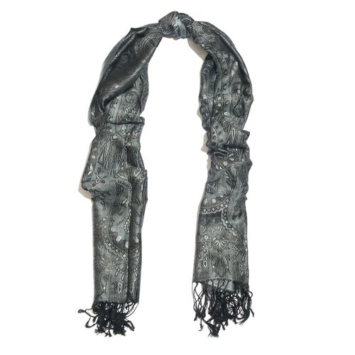 SILK MARK - 100% Superfine Silk Black and Multi Colour Floral Pattern Jacquard Jamawar Scarf with Tassels (Size 190X70 Cm) (Weight 125 - 140 Gms)