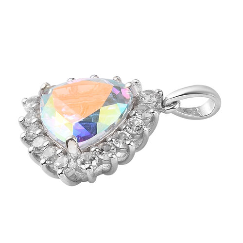 Mercury Mystic Topaz and Natural Cambodian Zircon Pendant in Platinum Overlay Sterling Silver 7.75 Ct