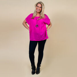 TAMSY High Low Scoop Neck Linen Top With 30 Inch Necklace (Fits Size 8-16) - Hot Pink