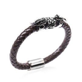 MP Inverted Elephant Head Braided Leather Bracelet (Size 7.5) with Magnetic Lock in Stainless Steel