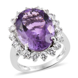 TJC Launch- Extremely Rare Canela Amethyst (Ovl 16x12 mm 9 Ct), Natural White Cambodian Zircon Cluster Ring in Platinum Overlay Sterling Silver 10.000 Ct