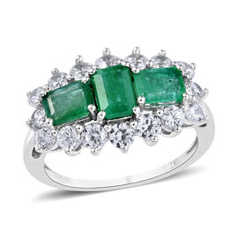 3.11 Ct AA Zambian Emerald and Cambodian Zircon Ring in 9K White Gold 2.70 Grams