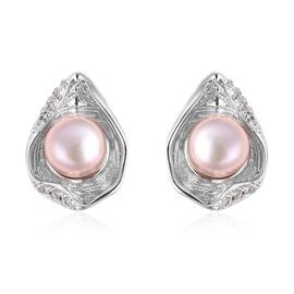 Fresh Water Pearl - Dyed Purple (2.75 Ct),White Zircon Sterling Silver Earring  2.820  Ct.