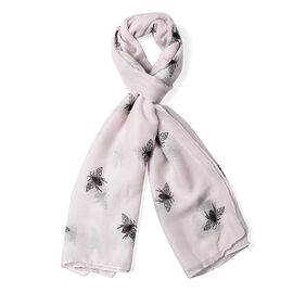 Soft Pink Colour Bee Pattern Scarf (Size 180x70 Cm)