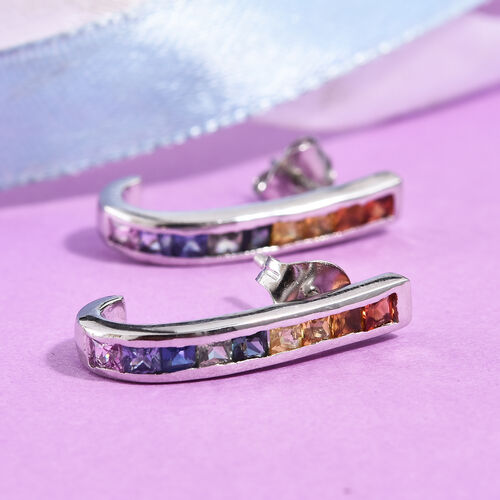 Rainbow Sapphire (Sqr) J Hoop Earrings (with Push Back) in Platinum Overlay Sterling Silver 2.00 Ct.