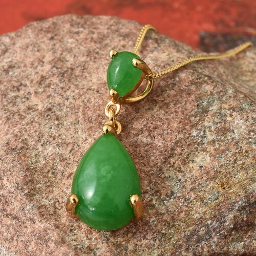 Green Jade (Pear) Pendant with Chain in 14K Gold Overlay Sterling Silver 7.750 Ct.