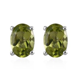 Hebei Peridot (Ovl) Stud Earrings (with Push Back) in Platinum Overlay Sterling Silver 1.500 Ct.