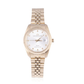 CHRISTOPHE DUCHAMP Elysees Swiss Movement Watch With Diamonds in Stainless Steel Gold Strap
