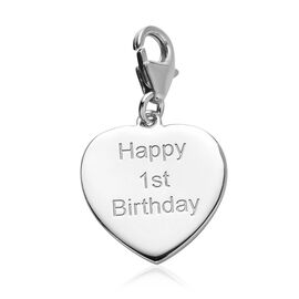 Platinum Overlay Sterling Silver Happy 1st Birthday Charm