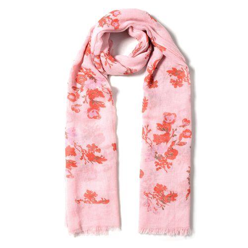 Pink Colour Floral Pattern Scarf (Size 178x100 Cm)