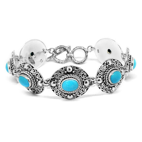 Designer Inspired- Arizona Sleeping Beauty Turquoise (Ovl) Bracelet (Size 8 with Extender) in Sterling Silver 10.350 Ct.Silver Wt 32.00 Gms