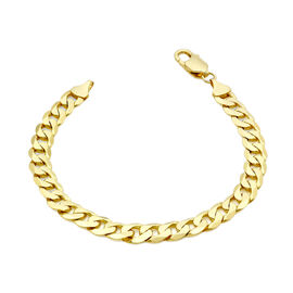 Italian Made-9K Yellow Gold Curb  Bracelet (Size 7.5) with Lobster Clasp,  Gold Wt. 12.50 Gms