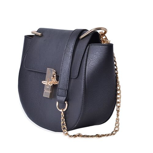 Black Colour Crossbody Bag with Shoulder Strap (Size 27x20x8 Cm)
