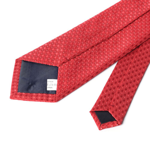 3 Piece Set - STRADA Japanese Movement Water Resistant Watch in Silver Tone and Cherry Red Dial, Suit Handkerchief and Tie - Cherry Red
