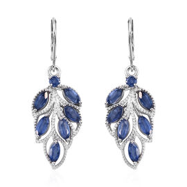 Kashmir Blue Kyanite (Mrq and Rnd) Lever Back Lear Earrings in Platinum Overlay Sterling Silver 4.50