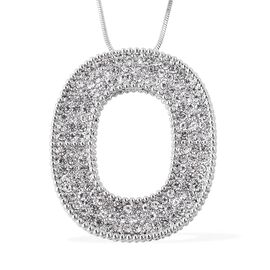 White Austrian Crystal Open Circle Pendant with Chain in Silver Tone 30 with 2 inch Extender