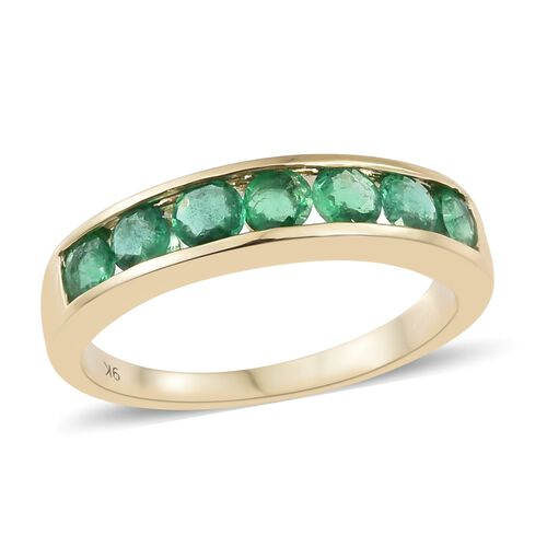 1 Carat Zambian Emerald Half Eternity Band Ring in 9K Gold 2.64 Grams