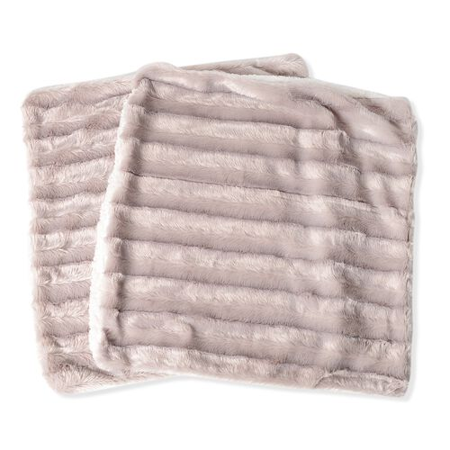 Set of 2 - Beige Colour Stripe Pattern Faux Fur Cushion Cover (Size 46x46 Cm)