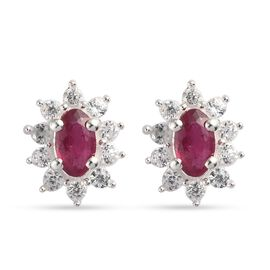 African Ruby (FF) and Natural Cambodian Zircon Earrings (With Push Back) in Sterling Silver 1.05 Ct