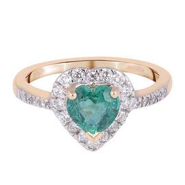 ILIANA 18K Yellow Gold AAA Kagem Zambian Emerald (Hrt), Diamond (SI/G-H) Ring 1.04 Ct.