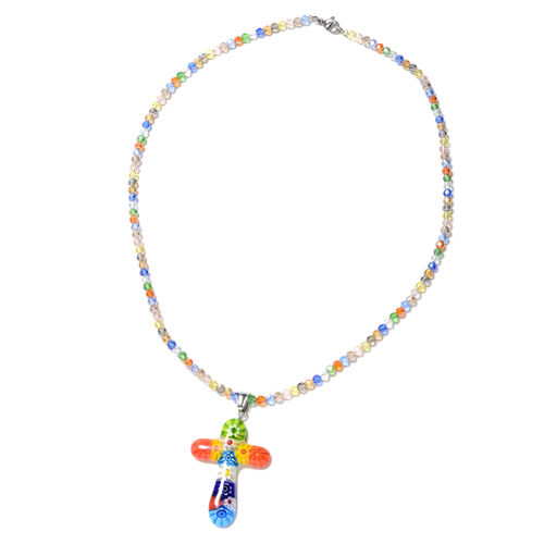 Multi Colour Murano Style Glass Cross Pendant with Chain (Size 20) in Stainless Steel