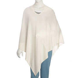 Limited Available - 100%  Cashmere Pashmina Wool Poncho - Cream  (Free Size)