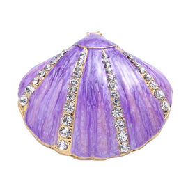 White Austrian Crystal Studded Enamelled Shell Theme Trinket Box with Magnetic Lock in Gold Tone