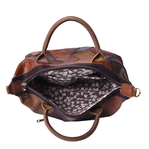 100% Genuine Leather Patch Tote Bag with Zipper Closure and Adjustable Shoulder Strap (Size 34x16x22 Cm) - Brown and Multi