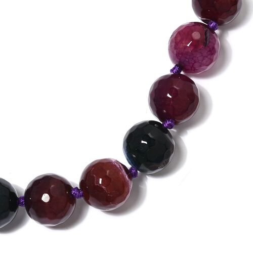 Limited Edition- Watermelon Agate (Rnd) Beads Necklace (Size 18) with Magnetic Lock in Rhodium Overlay Sterling Silver 649.500 Ct.