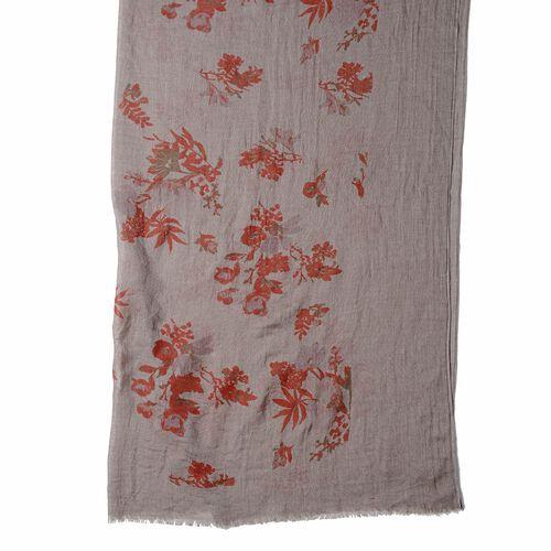 Dark Brown Colour Floral Pattern Scarf (Size 178x100 Cm)