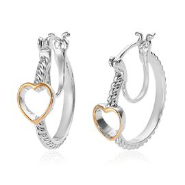 Platinum and Yellow Gold Overlay Sterling Silver Heart Hoop Earrings (with Clasp)