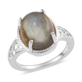 Labradorite (Ovl 12x10 mm) Solitaire Ring in Sterling Silver 3.50 Ct.